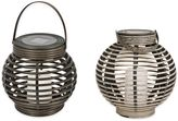 Destination Summer Solar Wicker Lantern in White Wash
