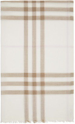 Burberry Off-White and Pink Gauze Giant Check Scarf