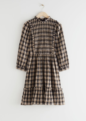 And other stories Smocked Puff Sleeve Ruffle Mini Dress