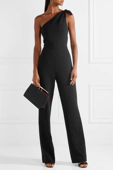 Diane von Furstenberg Knotted One-shoulder Crepe Jumpsuit
