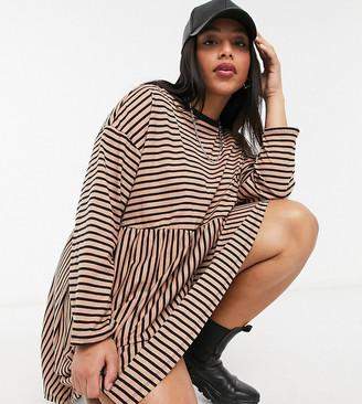 ASOS DESIGN Curve super oversized long sleeve smock dress in camel and black stripe