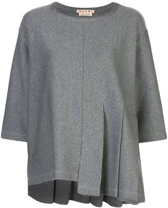 Marni asymmetric hem pleated top