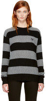 McQ by Alexander McQueen Grey & Black Punk Stripe Swallow Badge Sweater
