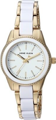 Anne Klein Women's AK/3212WTGB Gold-Tone and White Resin Bracelet Watch