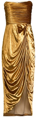 Aurora Emilia Ruched Metallic Velvet Dress