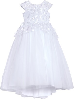 Us Angels Floral Embellished High/Low Tulle First Communion Dress