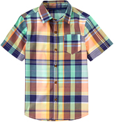 Crazy 8 Peach & Turquoise Plaid Woven Button-Up - Boys