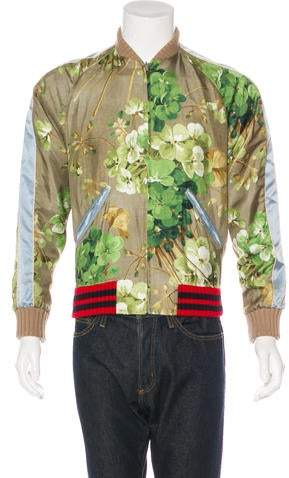 Gucci 2016 Reversible Blooms Silk Bomber Jacket