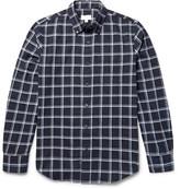 Club Monaco Slim-Fit Button-Down Collar Windowpane-Checked Cotton-Flannel Shirt