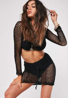 Missguided Black Crochet Co Ord Skirt