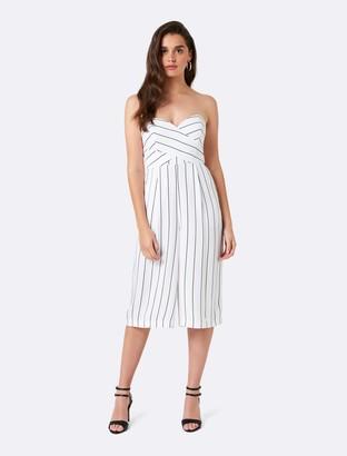 Forever New Sophia Striped Culotte Jumpsuit - Porcelain/Black Stripe - 10