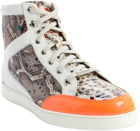 Jimmy Choo neon flame and white snake embossed 'Tokyo' sneakers