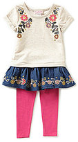 Flapdoodles Little Girls 2T-6X Boho Floral Dress & Leggings Set