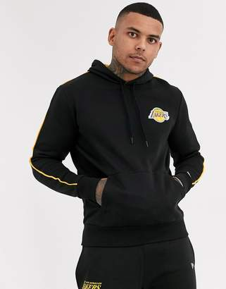 New Era NBA Los Angeles Lakers striped piping co-ord hoodie in black
