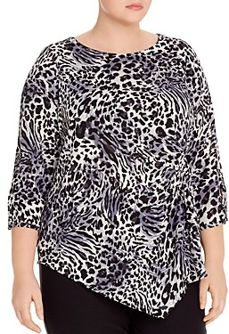 Status by Chenault Plus Ruched Leopard Print Top