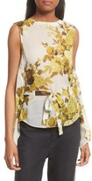 Robert Rodriguez Women's Floral Print Drape Back Silk Top
