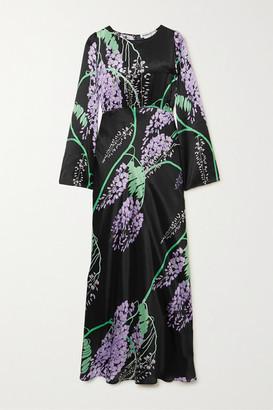 BERNADETTE Jane Printed Silk-satin Maxi Dress - Black