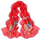 Leewa Women Butterfly Pattern Long Scarves Shawl Scarf (160 x 50cm, Red)