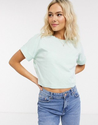 Asos DESIGN crop t-shirt with roll sleeve in mint