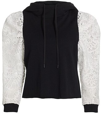 Alice + Olivia Muffy Lace Puff-Sleeve Hoodie