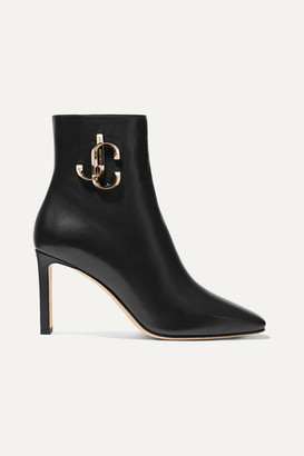 Jimmy Choo Minori 85 Embellished Leather Ankle Boots - Black