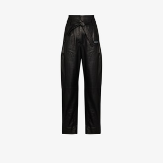 Off-White High Waist Tapered Leather Trousers
