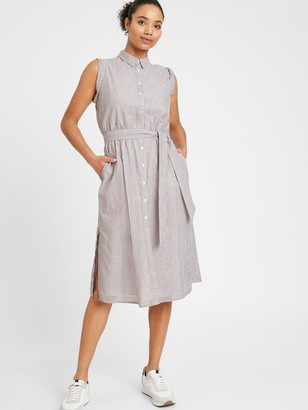 Banana Republic Petite Stripe Cotton-Linen Shirtdress