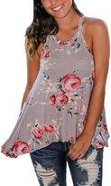 Mupoduvos Women Summer Sleeveless Halter Floral Print Tunic T Shirt Top Tee M