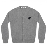 Comme des Garcons Light Grey Cardigan With Red Heart