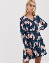Vero Moda button front long sleeve shift dress