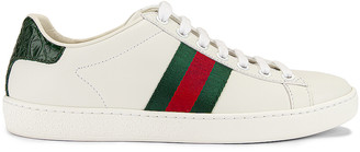 Gucci New Ace Basic Sneakers in White & Green | FWRD