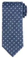Eton Neat Floral Silk Tie, Blue