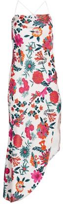 HANEY Floral Bias Cut Asymmetric Slip Dress