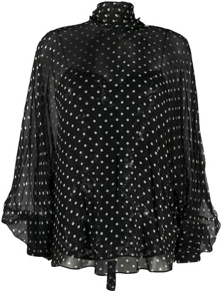 Valentino Polka Dot Balloon Sleeves Blouse