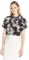 Vince Camuto Women's Short Sleeve Delicate Foliage Shirred Mock Neck Blouse