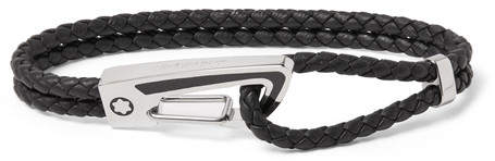 Montblanc Carabiner Braided Leather And Enamelled Sterling Silver Bracelet