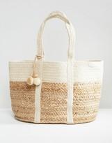 MANGO Straw Beach Bag