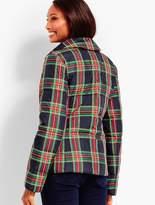Talbots Ruffle-Front Tartan Down Jacket