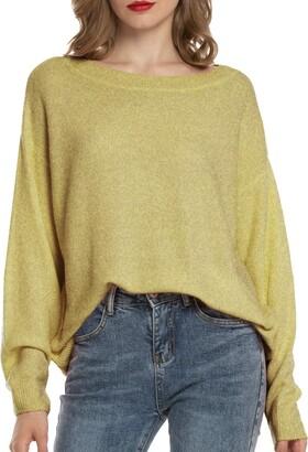 Woolen Bloom Ladies Jumper Colour Block Knit Jumper Casual Loose Crew Neck Women Pullover Sweater Long Sleeve Knitwear Top
