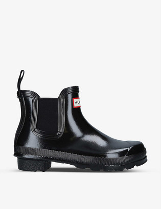 Hunter Original Chelsea patent-rubber ankle boots
