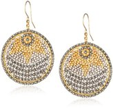Miguel Ases Gold and Soft Pewter Small Disc Earrings
