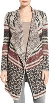 Lucky Brand Women's Mix Stripe Drape Front Cardigan