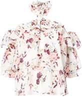 Misa Los Angeles floral cold shoulder blouse