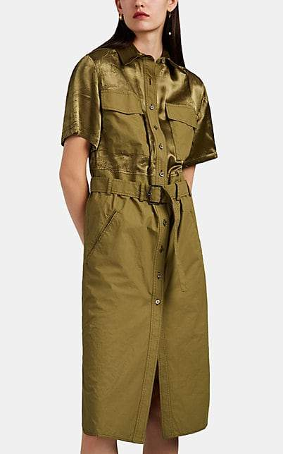 Sies Marjan Women's Mila Cotton Poplin & Washed Satin Belted Shirtdress - Olive