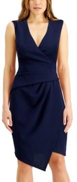 Emerald Sundae Juniors' V-Neck Asymmetrical Wrap-Style Dress