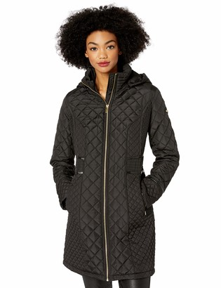 Via Spiga Women's Diamond Quilted Coat W/Detachable Hood