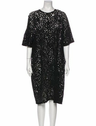 Balmain Crew Neck Midi Length Dress w/ Tags Black