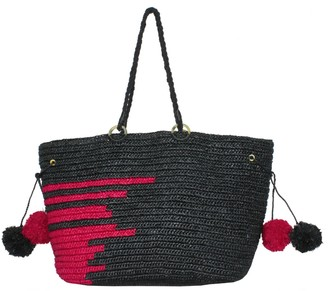Maraina London Emmanuel Large Raffia Beach Tote Bag In Black & Fushia