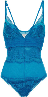 La Perla Shirred Stretch-tulle And Leavers Lace Bodysuit