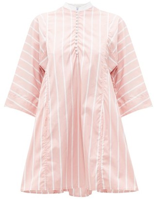 Thierry Colson Rachel Striped Cotton Mini Dress - Womens - Pink